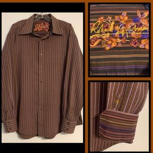 Robert graham brown purple striped shirt sz XL